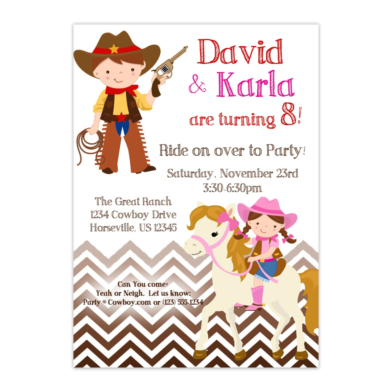 Western Themed Twin Birthday Invitations
