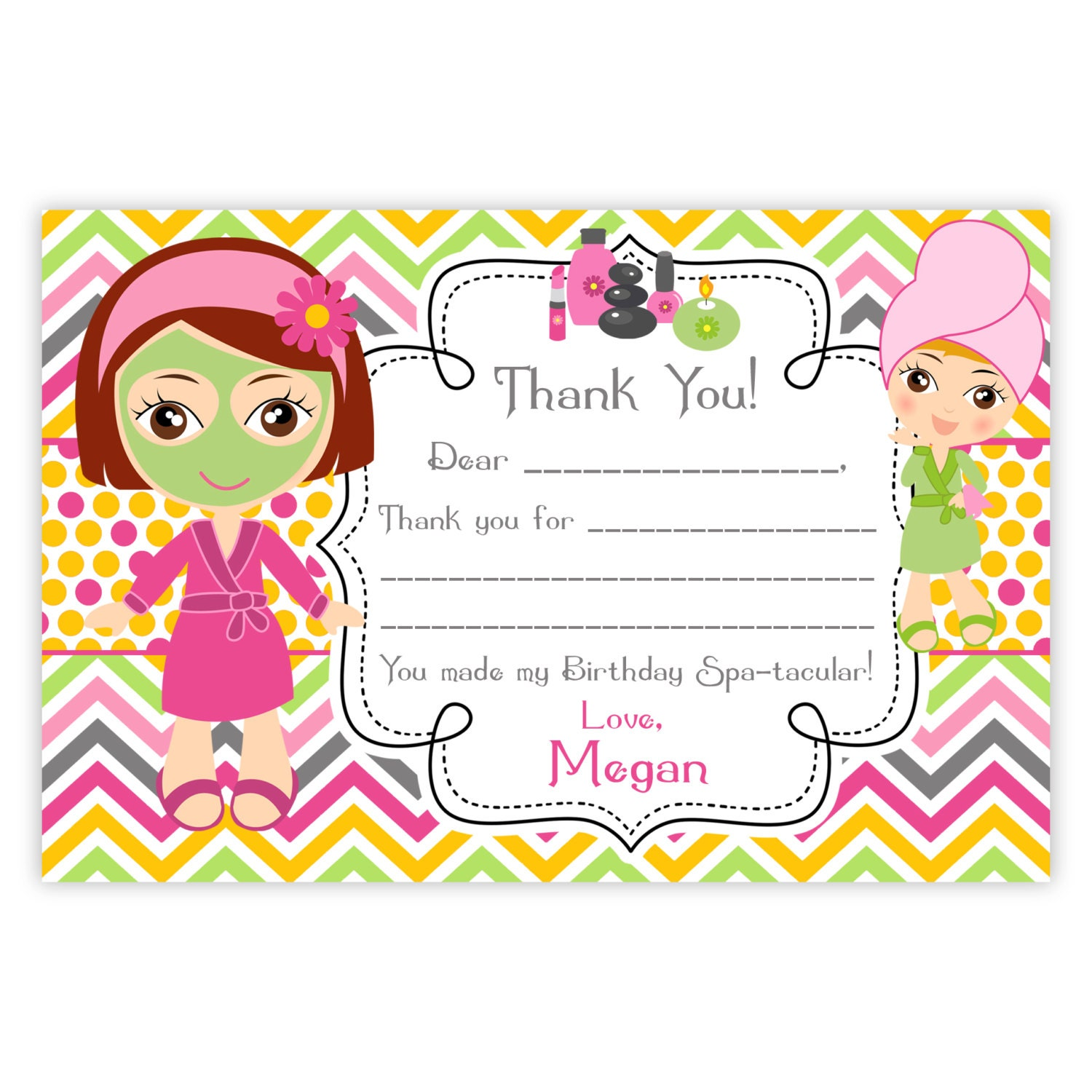 Spa Party Thank You Card Pink Orange Chevron Cute Little