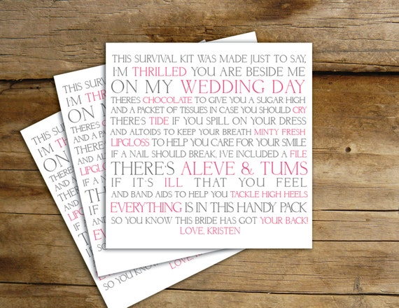 Bridesmaid Survival Poem