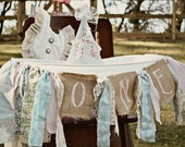 Shabby Chic Highchair Banner/ photo prop with Burlap ONE