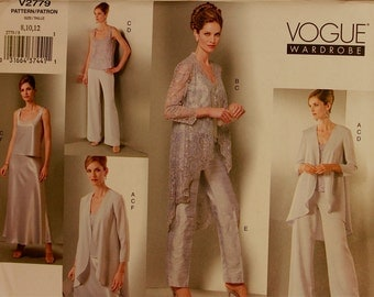 Jacket, Top, Pants & Skirt - 2000's -  Vogue Wardrobe Pattern 2779   Uncut   Sizes 8-10-12  Bust 31.5 - 32.5 - 34""