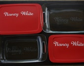 4 Pc. Personalized Bakeware Set: TWO Custom Etched Pyrex Baking Dishes WITH NAME on Lids (7x11 Option)