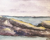 "Maine Painting. Seascape, Watercolor, Pen and Ink Drawing. Original Art ACEO. ""Pemaquid 7"" by Kathleen Daughan. Artist Trading Card - kathleendaughan"