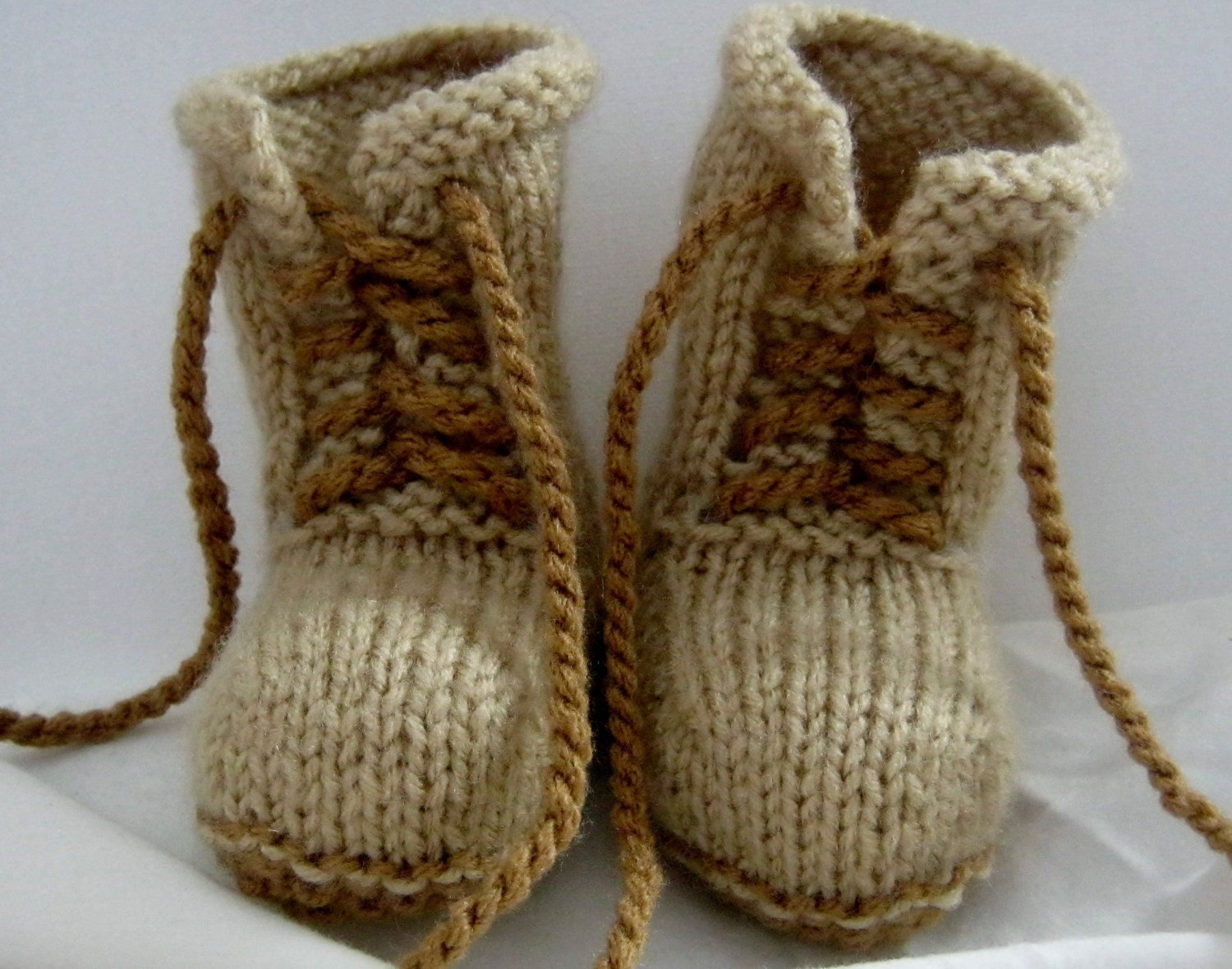 Knit Boots Pattern : PDF Pattern for Knitted combat boot booties little soldier