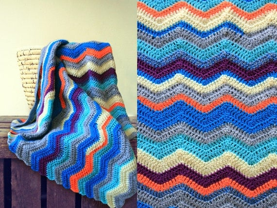 Crocheted Chevron Striped Baby Blanket Orange Blue
