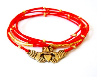 Irish Claddagh Gold Bracelet, Red Bracelet Set, Gold Claddagh Charm, Gold Bracelet, Irish Jewelry