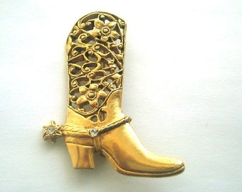 Cowgirl Boot Brooch Lacy Filigree Gold Tone & Rhinestone Spurs Country Western Style