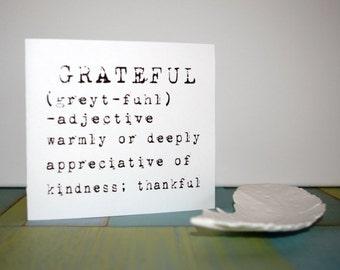"Handmade card, grateful, thank you, 3 1/2"" x 5"", envelope"