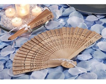 Sandalwood Fan Country / Rustic / Outdoor  Wedding/ Fan Bridal Favor (Ribbon & Tag Included)