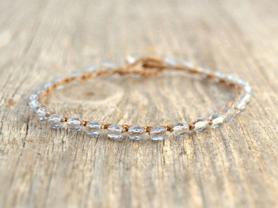 Light blue crochet bracelet. Beaded boho chic stack bracelet. Waterproof surfer girl beach jewelry.