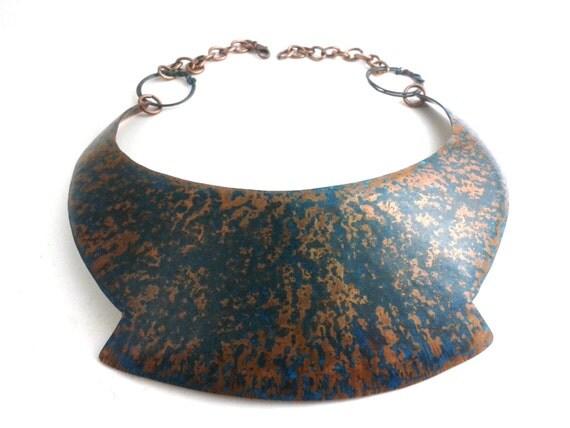 Boho copper collar choker necklace peter pan bib chest piece bold