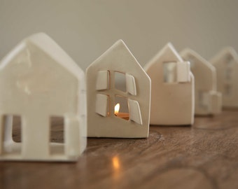 Ceramic Candle Holders - Set of three Love Houses