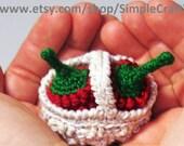 PDF Pattern Tutorial Raspberry Basket Amigurumi Crochet Toy Cute Amigurumi Toy Berry Crochet Pattern Pretty Small Amigurumi
