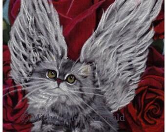 Valentine Angel Cat red roses original painting by Michaeline McDonald