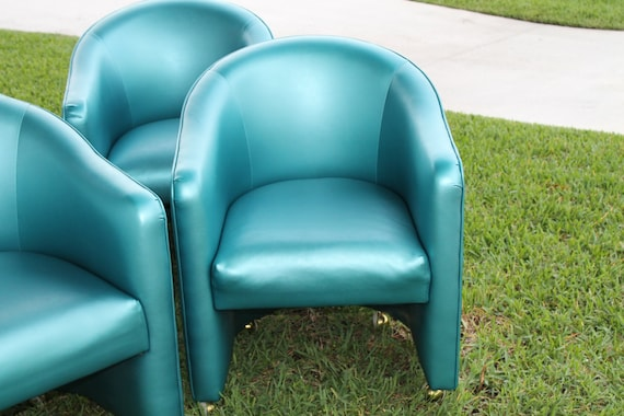 Items Similar To Sale Vintage Set 4 Tub Barrel Chairs Teal