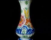 Vintage Delft Vase, Polychrome, Delftse Pauw