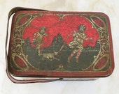 VINTAGE 1920's LITHOGRAPH LUNCH Box - Wonderful scene with Children playing with dog