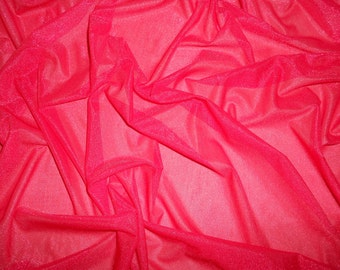 "Red Sparklesheen Sheer, 1 yd. 4 Way Stretch Red Sparklesheen Sheer 60"" Width Simmering Sheer Fabric"