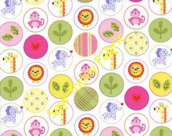 Happi Animal Circles Pink - Free Spirit PWDF150-PINK (sold by the 1/2 yard)