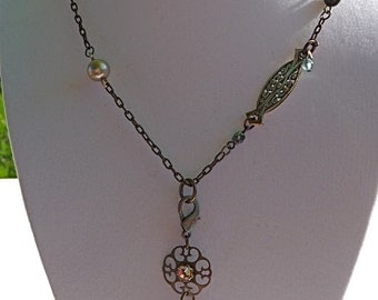 10% off on this item - Repurposed brass chain, vintage glass beads, pendant necklace