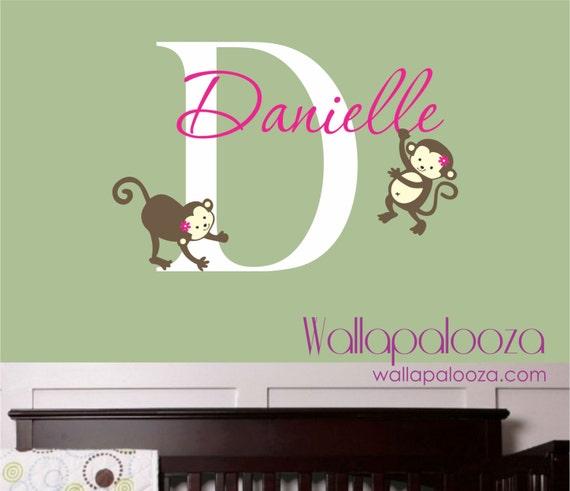 Girl Monkey Nursery Wall Decor : Monkey wall decal nursery decor girl s name