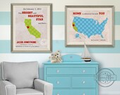 "Kids wall art USA STATES MAP  Poster Print  Set of two 11""x14"" , Birth announcement Colorful Personalized Map Art for Children, Nursery art"