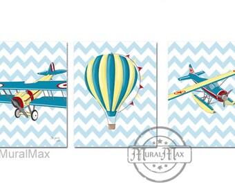 Airplane Nursery Art - Vintage Airplane Art -  Nursery Print, Kids Wall Art - Art for Boys,  Boys nursery art set of three 8 x10