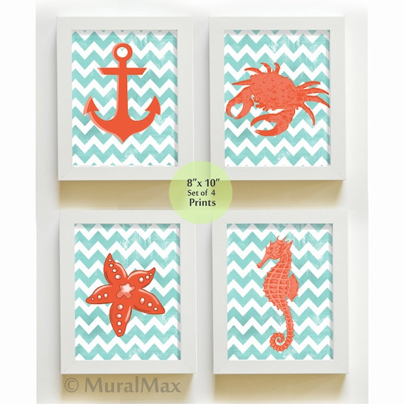 items similar to beach nautical nursery art print set ocean theme prints boys room decor set. Black Bedroom Furniture Sets. Home Design Ideas