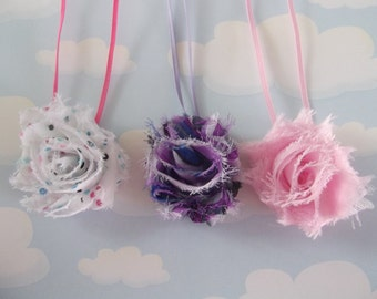 Petite  Shabby Rosette Headband..  Set of three.  Photp prop.  Baby Girl Headbands