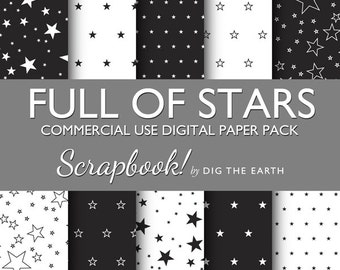 INSTANT DOWNLOAD Full Of Stars Wallpaper Digital Collage Sheets 12x12 inch Set of 10 Digital Papers Black and White Commercial Use SDTE0011