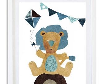 Lion Nursery print, Nursery decor, Nursery art, Kids room wall art, boys room art,  Safari, blue, Lion - The carnival Lion