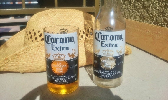 Corona beer bottle glasses set of 2 by conversationglass for How to make corona glasses