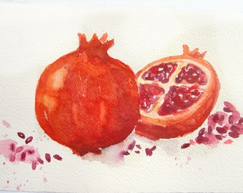 Pomegranates in watercolor. Watercolor original.Art original. Fruits on watercolor