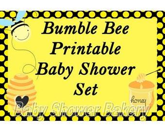 Bumble Bee Baby Shower Set, Bee Theme Baby Shower Set, Printable Bee Baby Shower Package, Bee Theme Baby Shower Invitation, Bee Shower Game