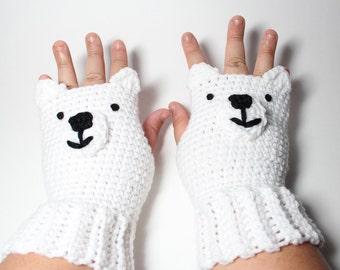 Polar Bear Fingerless Gloves, Animal Mittens, Crochet Mitts, White Wrist Warmers, Winter Accessories