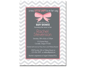 Baby Girl Shower Invitation, Chevron Invitation, Digital File,  PRINTABLE _1148