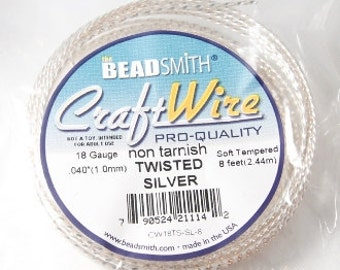 18 Gauge Silver Twisted Square Craft Wire Non Tarnish