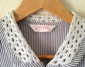 Stripe Blouse with Woven Collar
