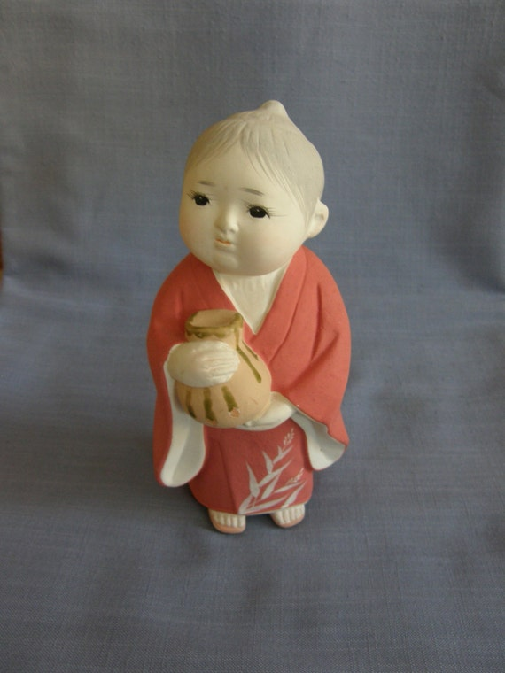 Japanese Hakata Doll Vintage Clay Doll Girl Fired But Not