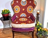 Artful Antique Heartback Arm Chair with Exquisite Violet Leather