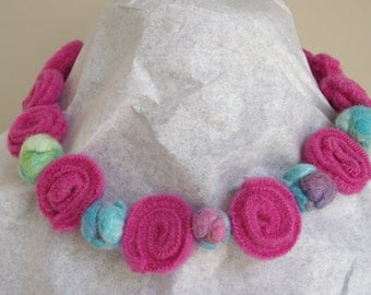 pink and turquoise felted bead necklace