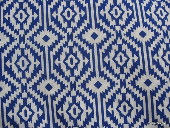 Ikat print pure fine cotton dress fabric in royal by for Ikat fabric dress