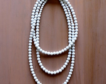 White Long Beaded Necklace (Large)