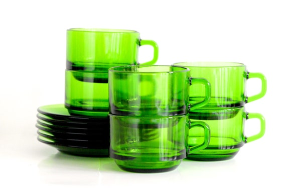 Durax: French green cups/saucers, set of six