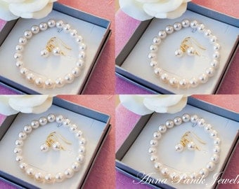 50% OFF SALE 4 Bridesmaids gifts-Pearl Jewelry sets with Bracelet and Earrings (15 COLORS Available)