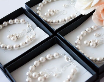 50% OFF SALE 7 Bridesmaids gifts-Pearl Jewelry sets with Bracelet and Earrings (15 COLORS Available)