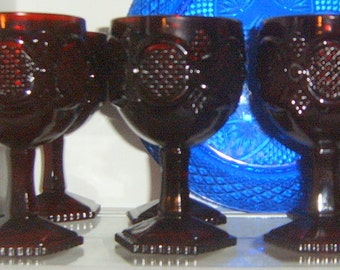 Avon, Cape Cod Water, SIX,  Gobbets,  Ruby Red Stemmed Glasses, Cape Cod, Set Of SIX,  Serving