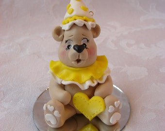 Personsonalized Childrens Bear  Birthday Cake Topper, Polymer Clay Christmas Ornament.  A  Handcrafted Art Sculpture.