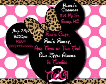 Pink Cheetah Minnie Mouse Invitations OR Thank you card