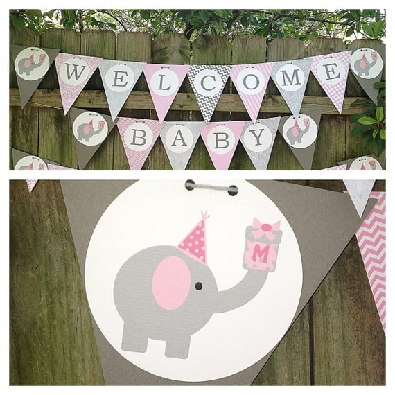 items similar to elephant themed baby shower or birthday banner for
